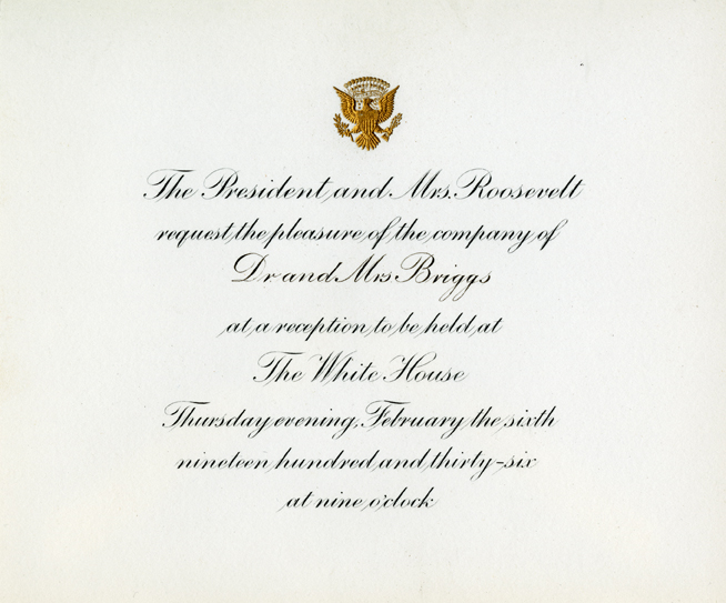 White House Dinner Invitation to Lyman L. Briggs
