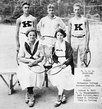 M.I.A.A. tennis champions pose with their trophy, 1921