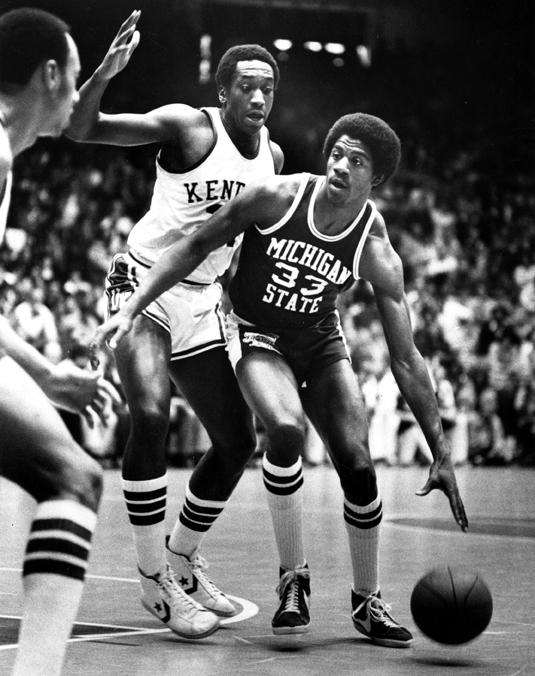 Johnson playing in basketball game, 1978