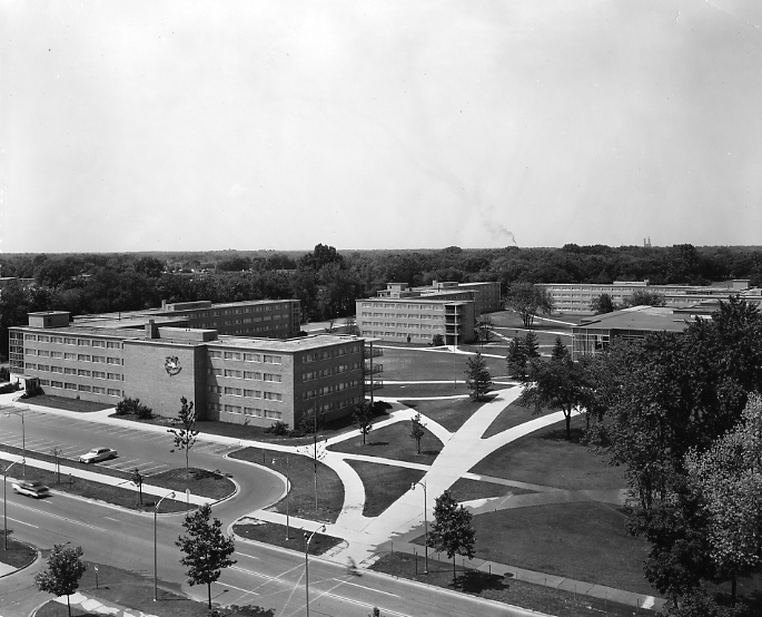 An aerial view of Brody Complex, 1958