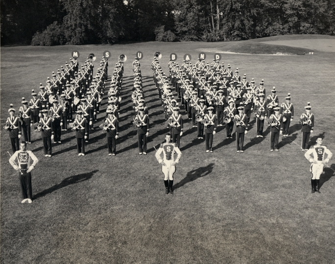 MSU marching band in formation, 1955