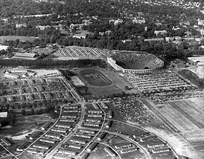 Aerial shot of the football stadium, 1948