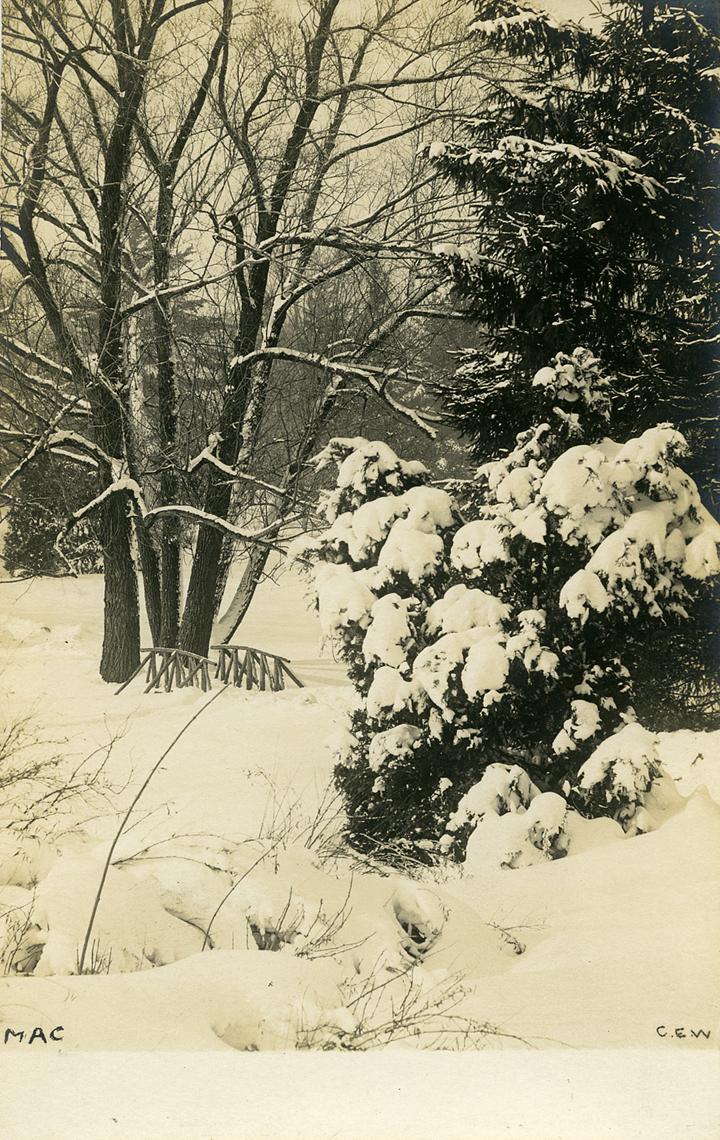 Campus bridge in winter, date unknown
