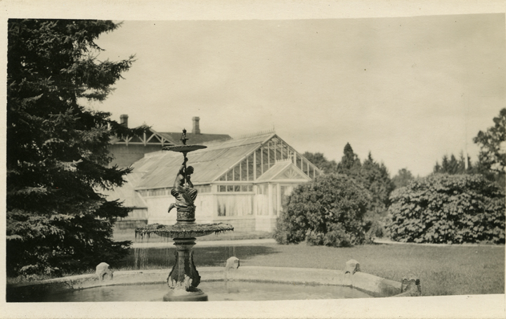 Fountain near greenhouse, 1883