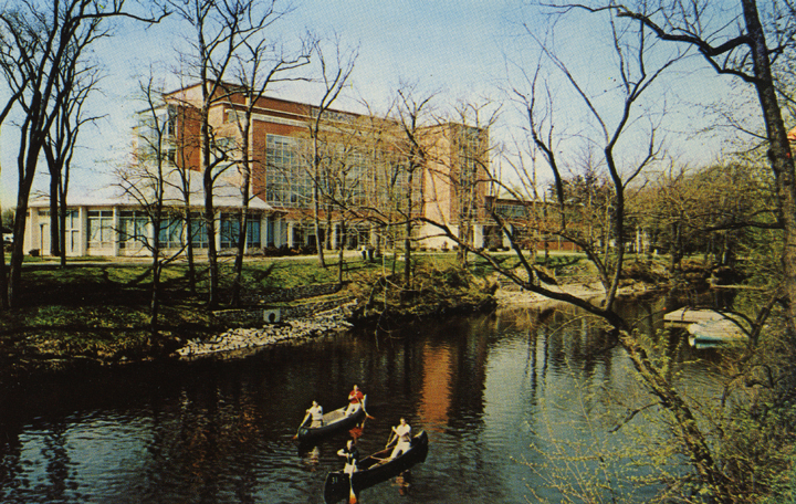 Canoers in front of the Education Building, date unknown