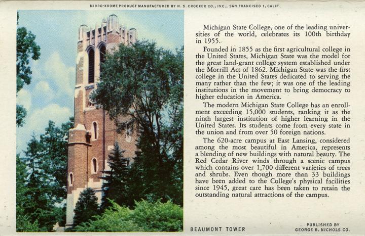 Beaumont Tower (Michigan State Centennial Postcard Pack), 1955