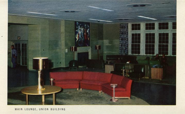 Main Lounge, Union Building (Michigan State Centennial Postcard Pack), 1955