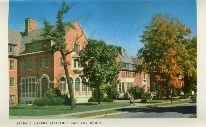 Linda E. Landon Residence Hall (Michigan State Centennial Postcard Pack), 1955