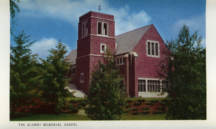Alumni Memorial Chapel (Michigan State Centennial Postcard Pack), 1955