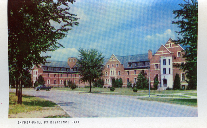 Snyder-Phillips Residence Hall (Michigan State Centennial Postcard Pack), 1955
