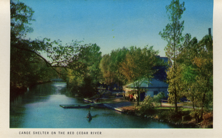 Canoe Shelter on the Red Cedar River (Michigan State Centennial Postcard Pack), 1955