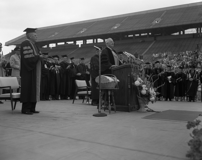 President Harry S. Truman Delivering the Commencement Speech, 1960