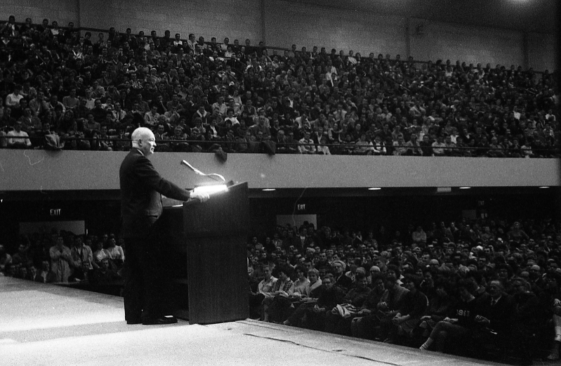 Dwight Eisenhower delievering a  speech to students, 1961