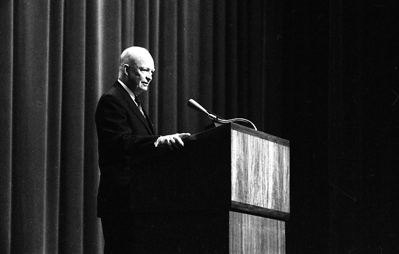 Dwight Eisenhower delivering a speech, 1961