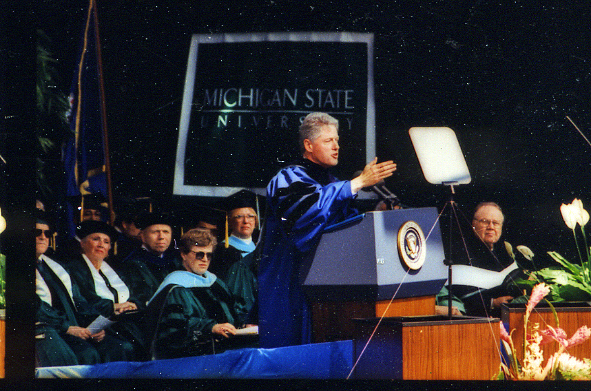 President Clinton giving commencement speech, 1995