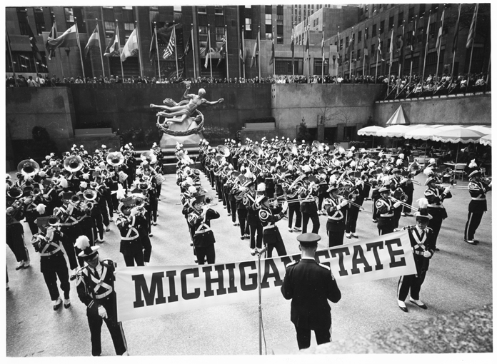 MSU Marching Band in Rockefeller Center, NY, 1964
