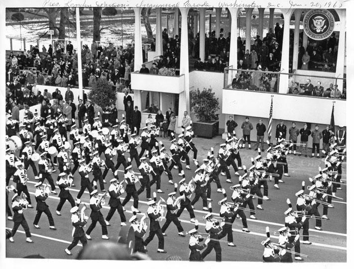 MSU Band at the  Inaugural Parade for President Lyndon Johnson, 1965