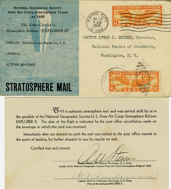 "Letter Carried in Stratosphere Balloon ""Explorer II"""