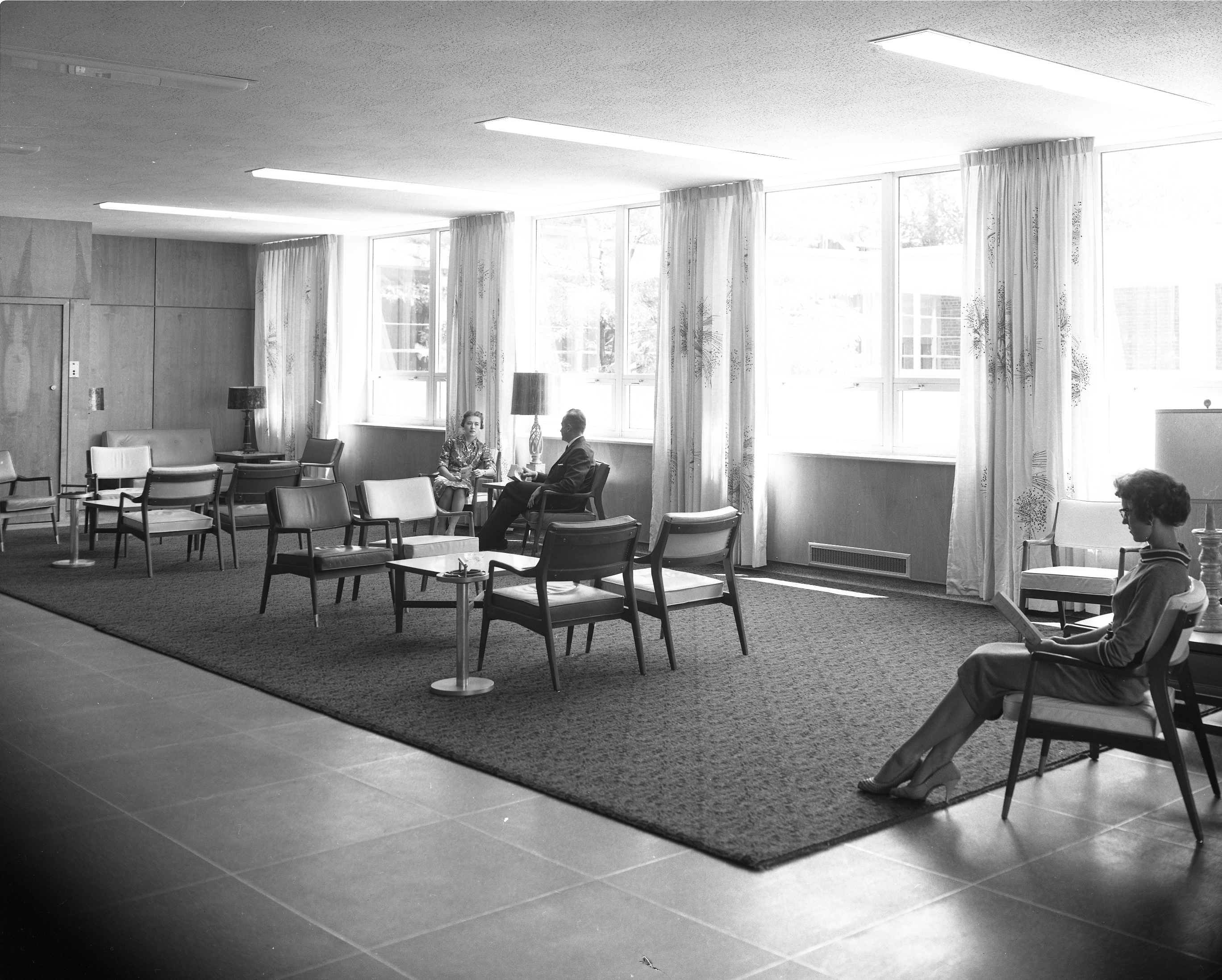Lounge at the Kellogg Center, 1959.