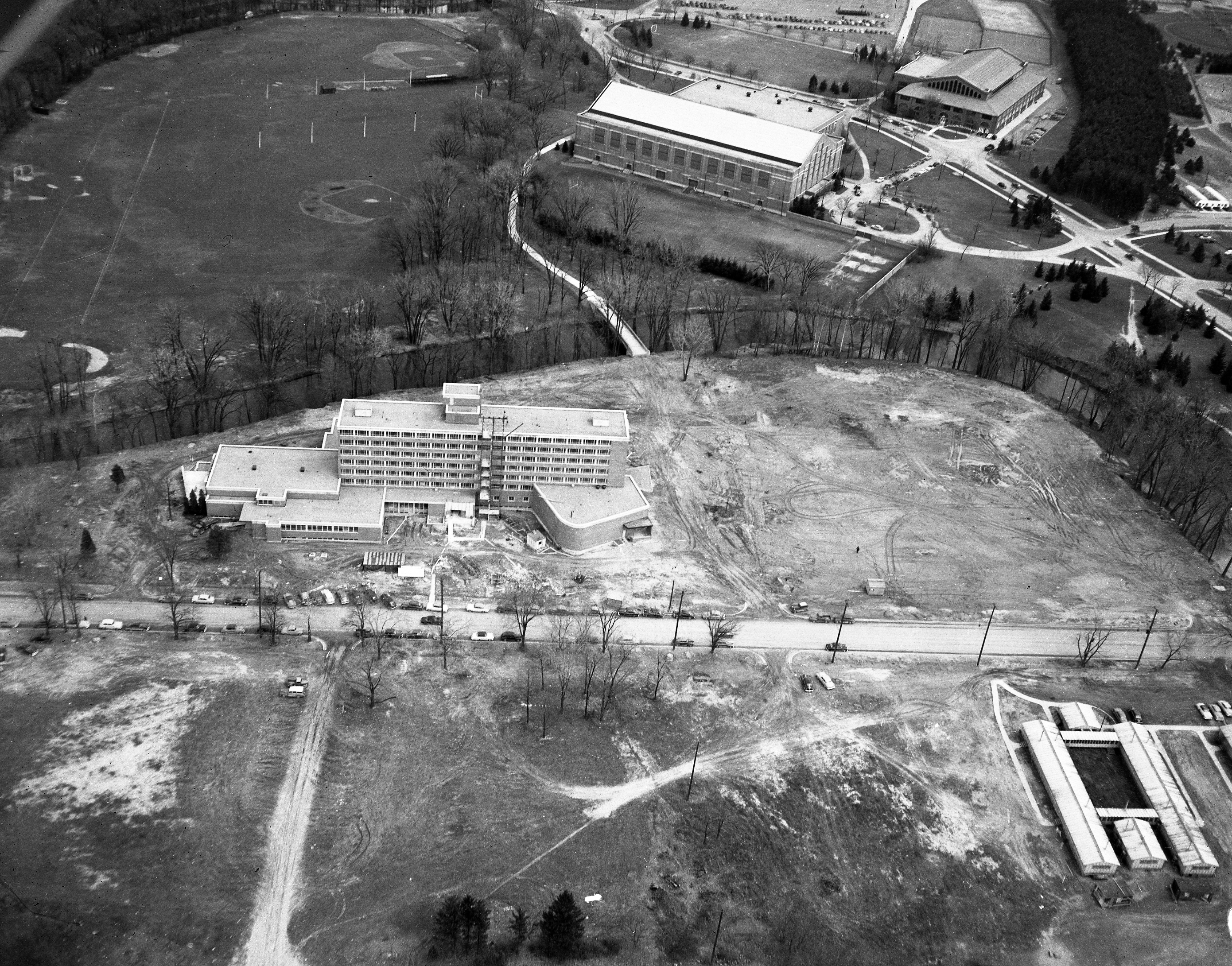 An aerial view of the construction of the Kellogg Center, 1951