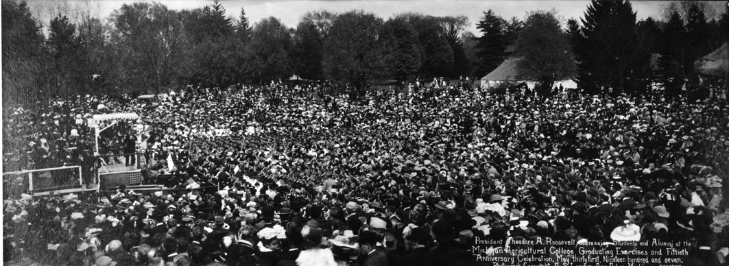 Theodore Roosevelt Speaking at Commencement, 1907