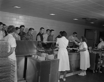 The food service line at Brody Hall, 1955.