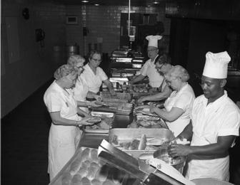 MSU Kitchen staff preparing food, 1959