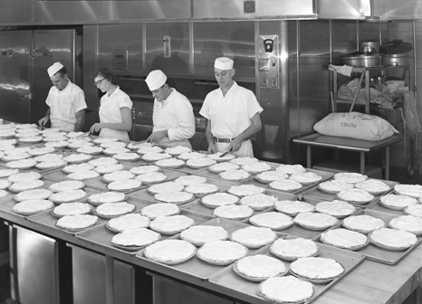 Cooking in the Brody Hall kitchen, 1954