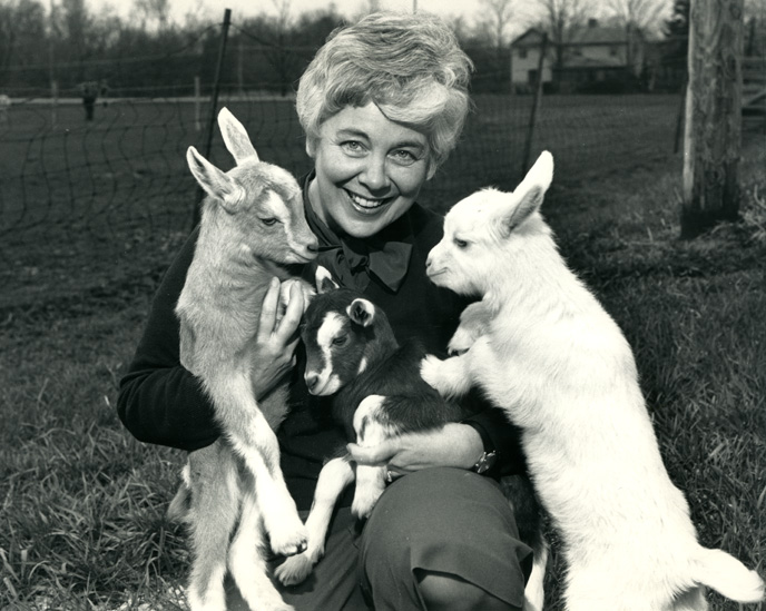MZ Jones with three goat kids, 1986