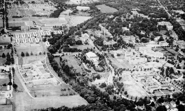Aerial view of campus, 1954