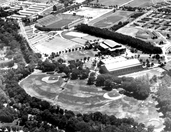 Aerial view of athletic fields, 1955