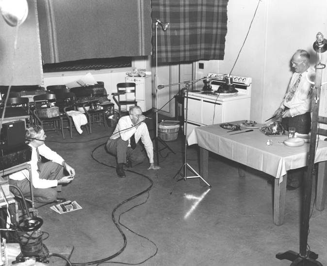 Behind the scenes of WKAR cooking show, 1950