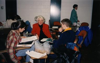 Margaret Zee Jones with two medical students, 1999