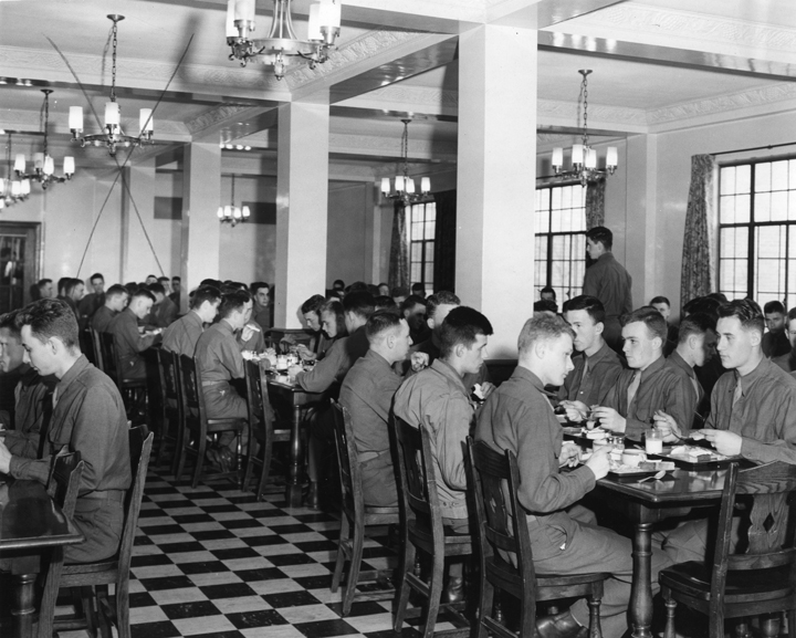 World War II cadets in dining hall, undated