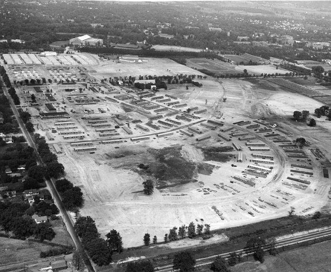 Aerial view of post-war temporary housing, circa 1940s