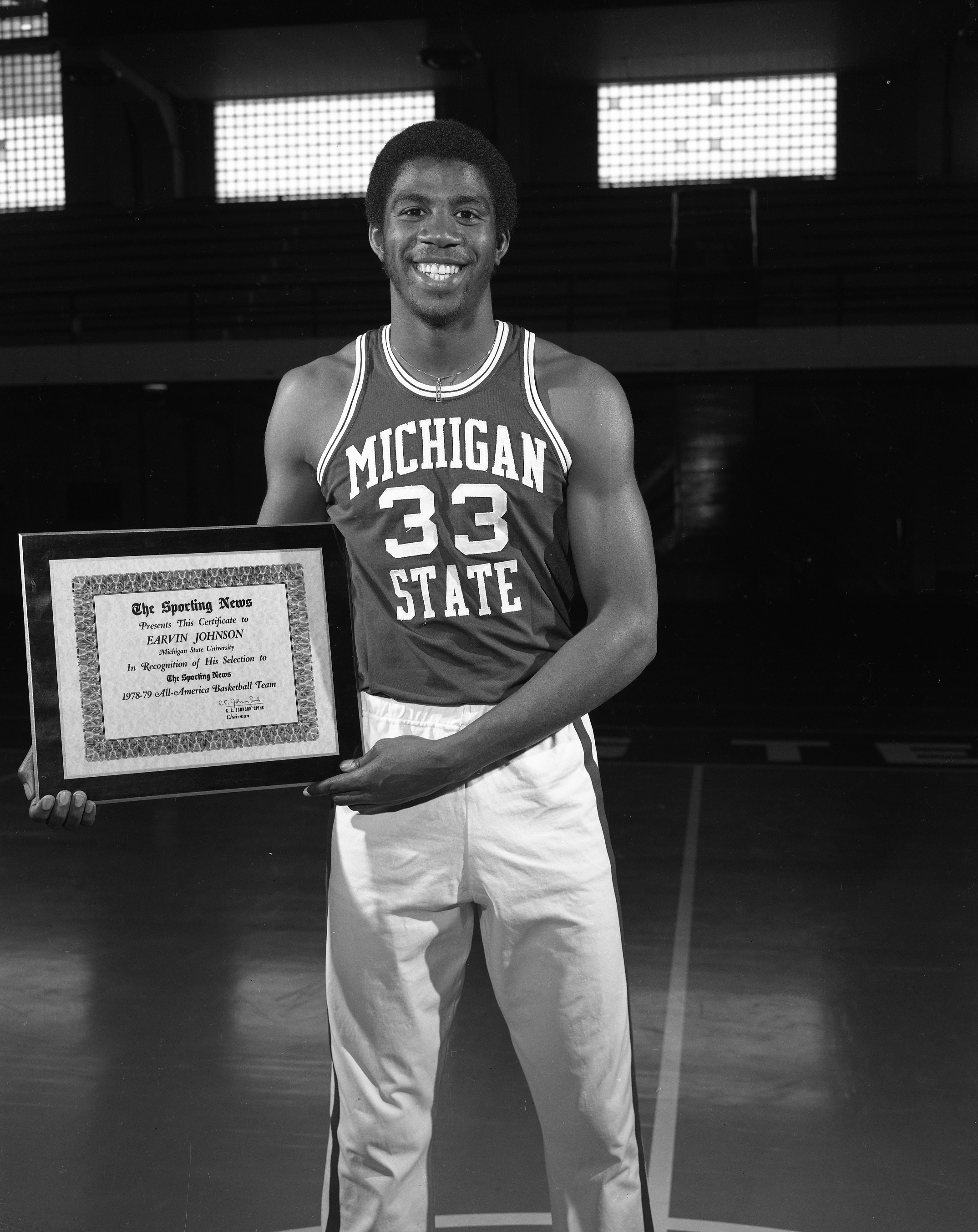 Magic Johnson with Sporting News Trophy, 1979