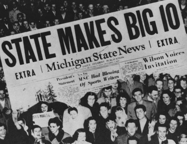 "1948 State News Headline: ""State Makes Big 10"""