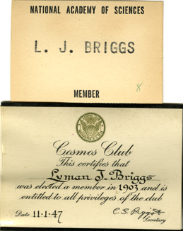 Lyman Briggs Membership to National Academy of Science and Cosmo Club