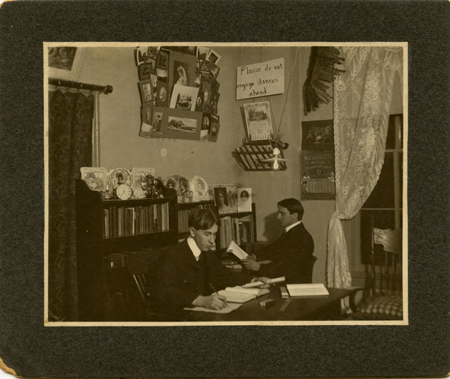 Two Male Students Studying in a Dorm Room, 1903