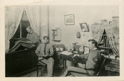 Three Male Students Reading in a Dorm room, 1898