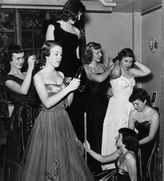 Female Students Getting Ready for Dance, 1950