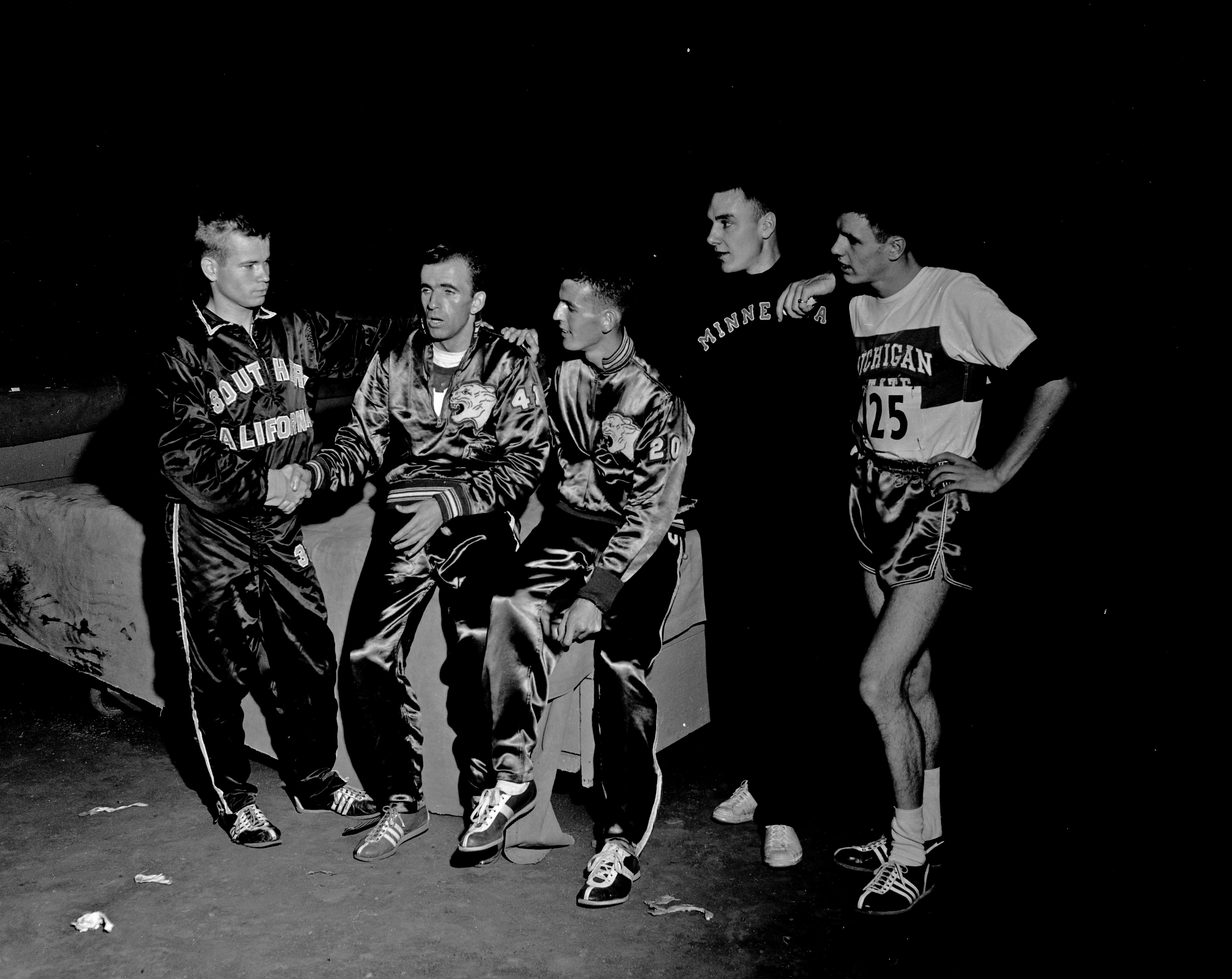 Cross Country runners after race, 1957