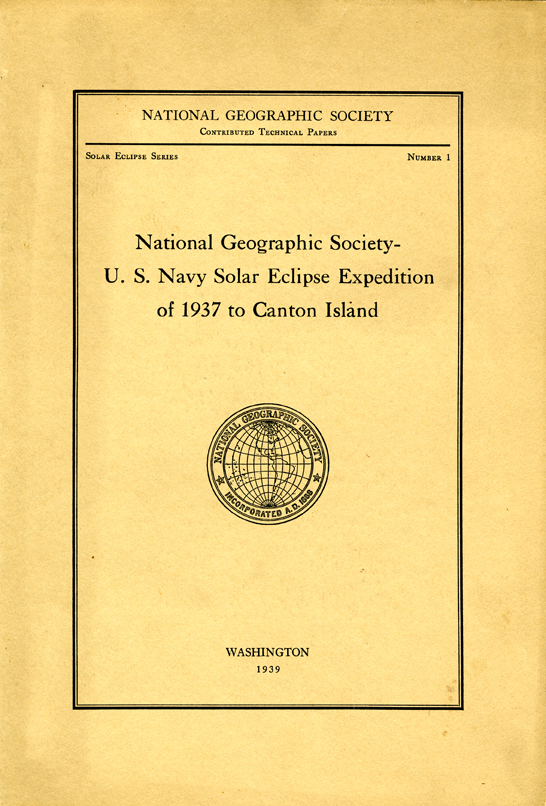 National Geographic Society U.S. Navy Solar Eclipse Expedition Cover