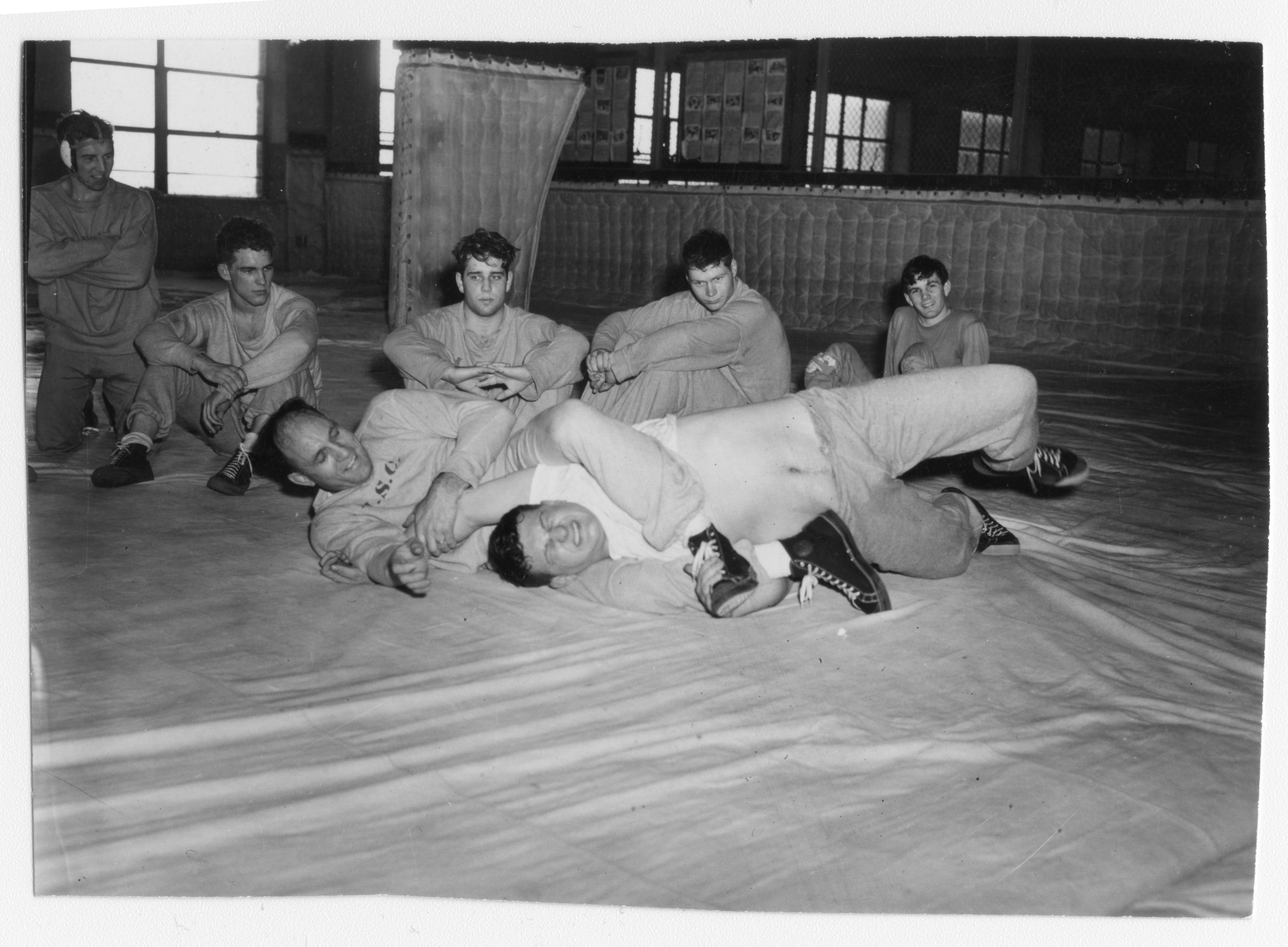 Coach Collins with Wrestlers, 1949