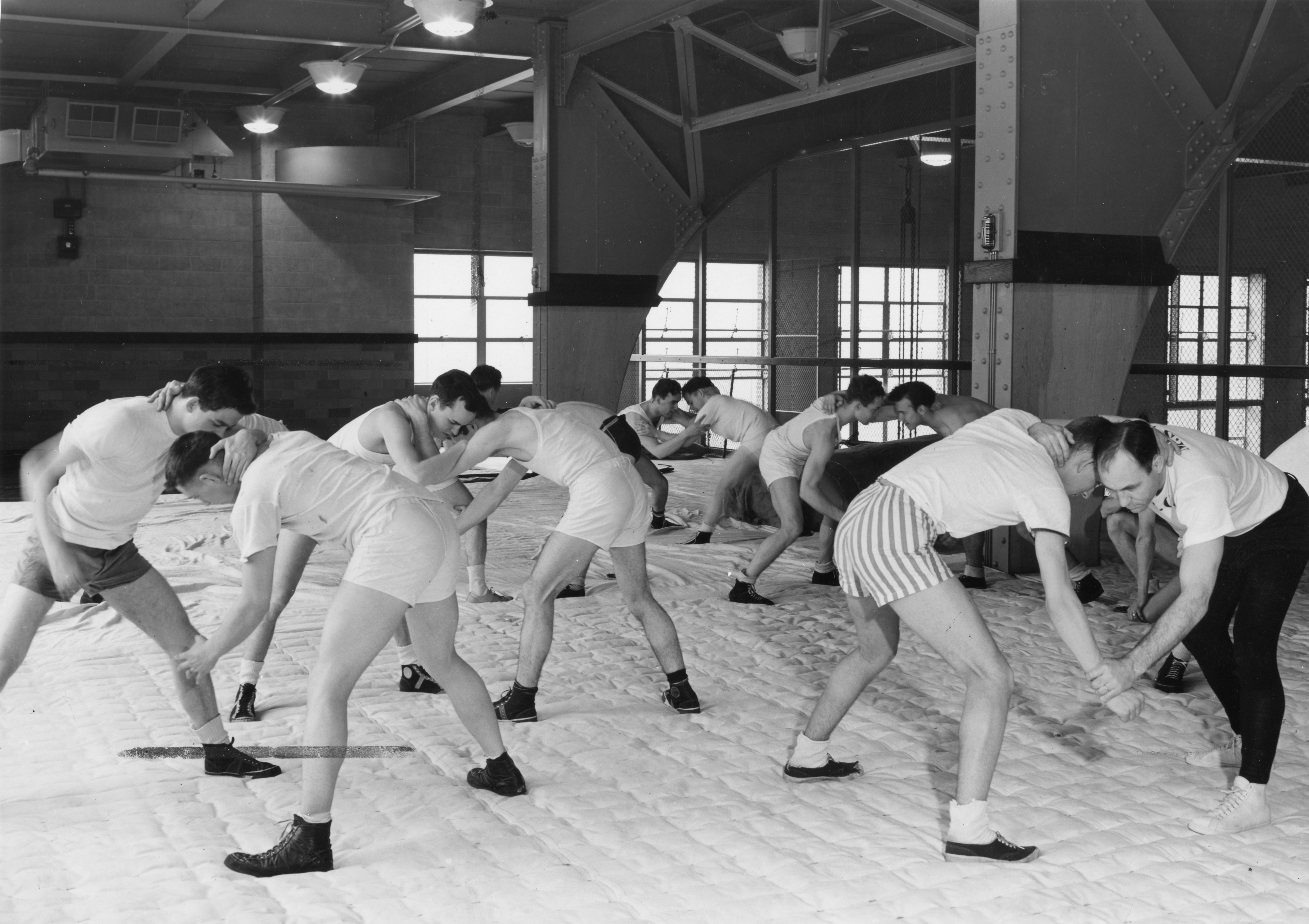 Coach Collins Practices with Wrestling Team