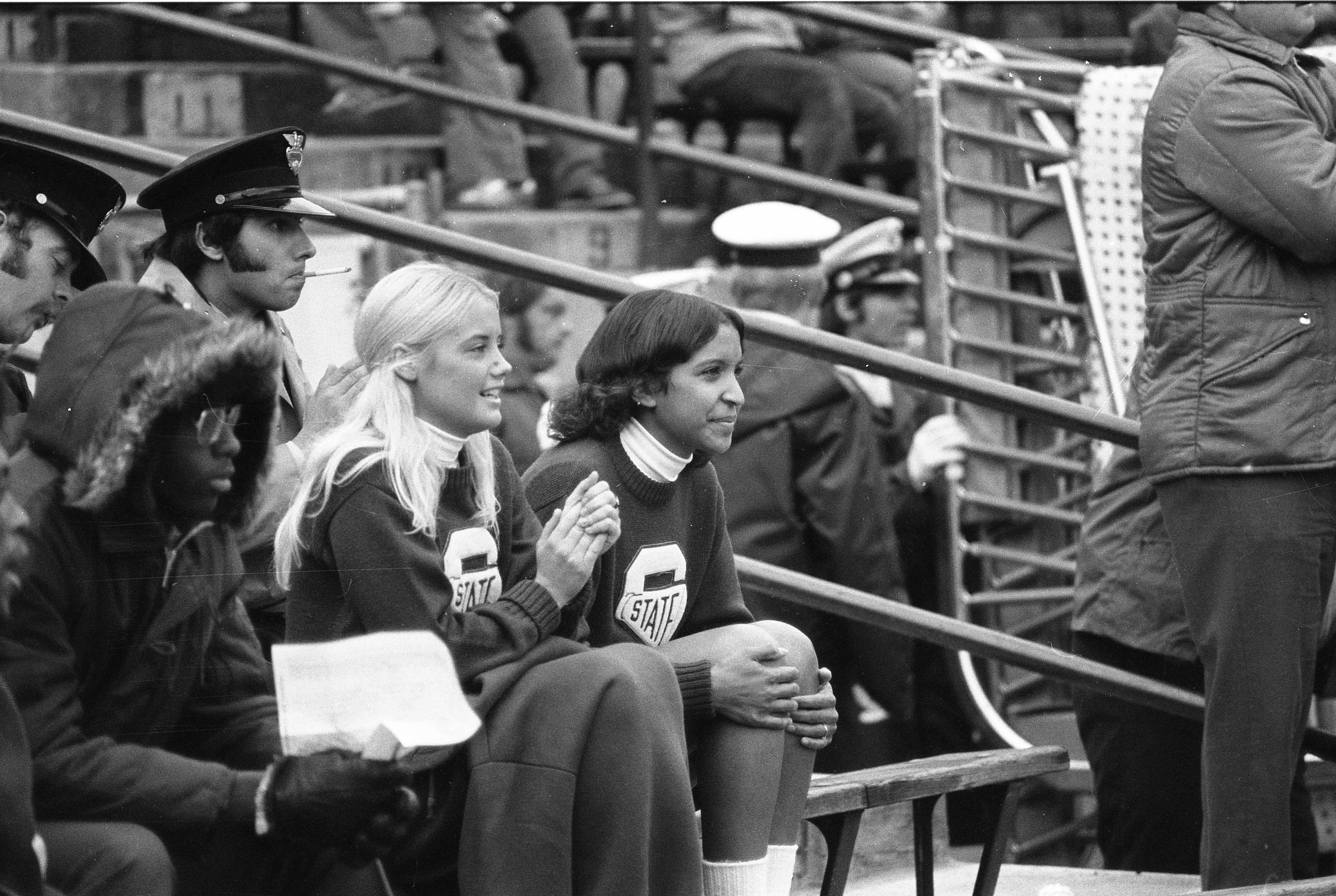 Cheerleaders at MSU vs. Purdue game, 1972