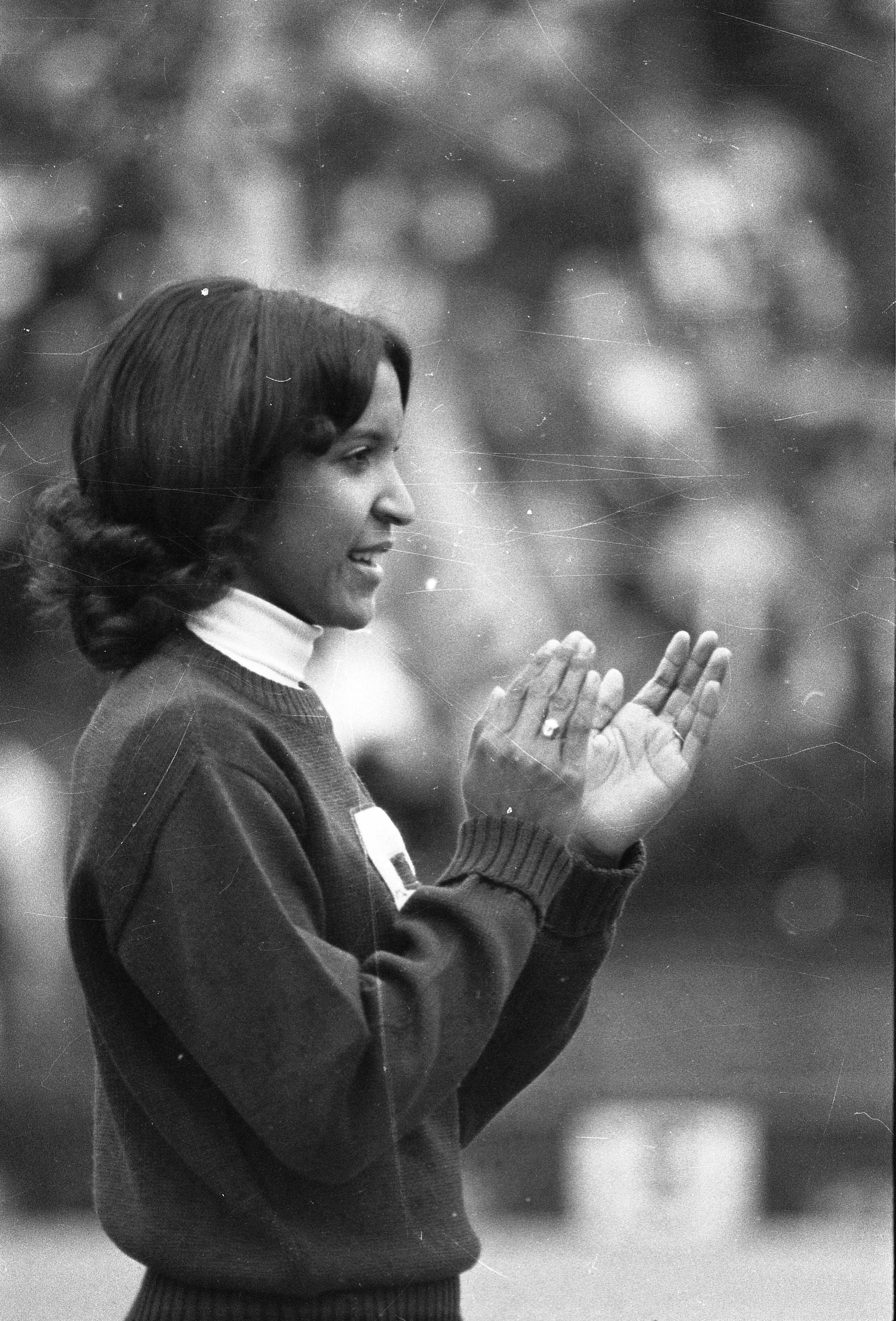 A cheerleader  at the MSU vs Northwestern football game, 1972