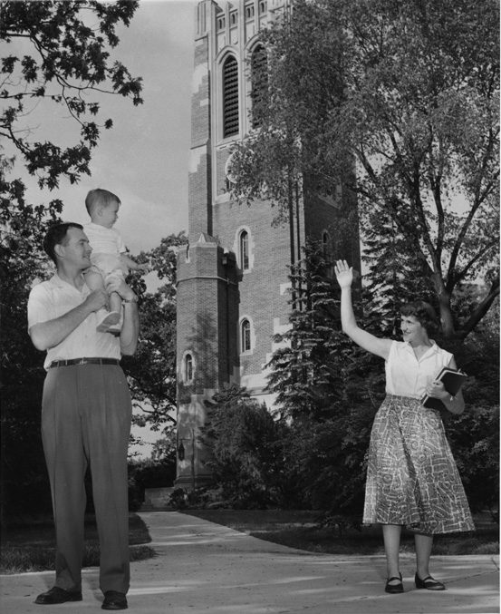 Family Parting in front of Beaumont Tower, 1950s