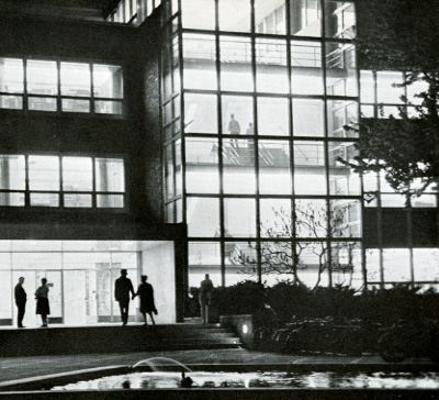 Exterior shot of the Library at Night, 1962