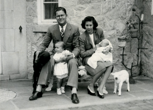 Family portrait with dog and lamb, date unknown